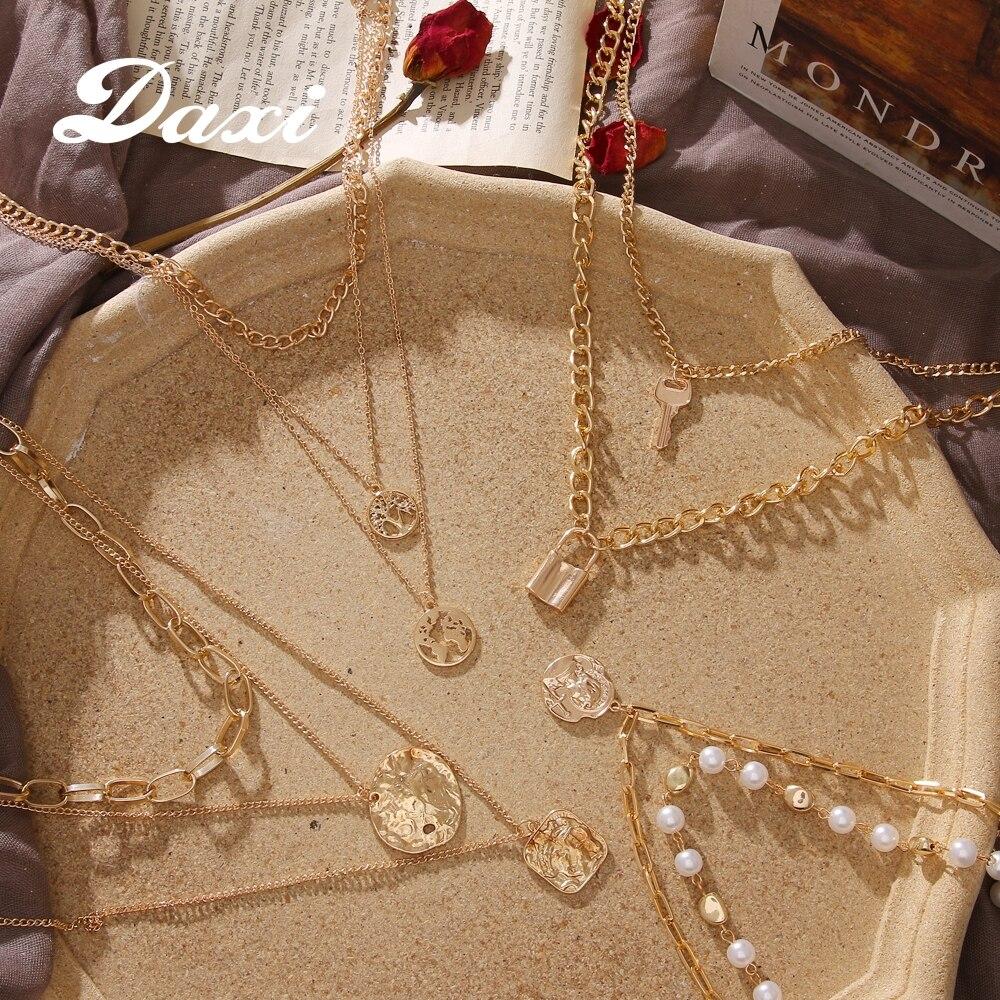 DAXI collares de mujer colgante cadenas de oro boho collar de perlas colgantes mujer moda accesorios mujer collar collares para mujer collar largo