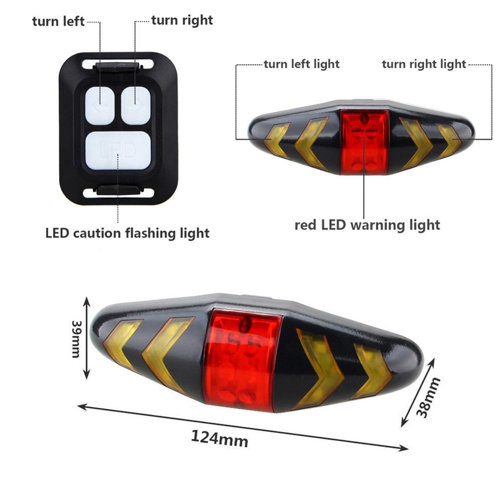 Купить с кэшбэком Bike Turning Signal Wireless Remote Mountain Bike Taillights Cycling Lights Remote Control LED Warning Lamp Flashing Headlights
