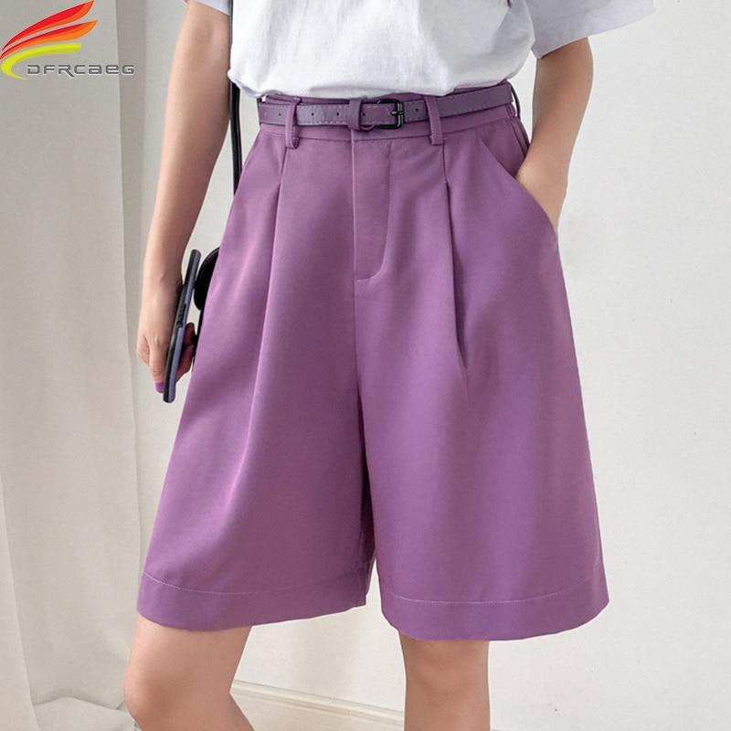 New 2021 Summer Bermuda Shorts For Women High Waist Black Or Purple Color Loose Shorts With Belt Half Length Short Femme