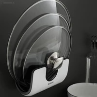 multifunction lid rack holder wall mounted pan pot pan cover stand cutting board holder kitchen organizer with hooks