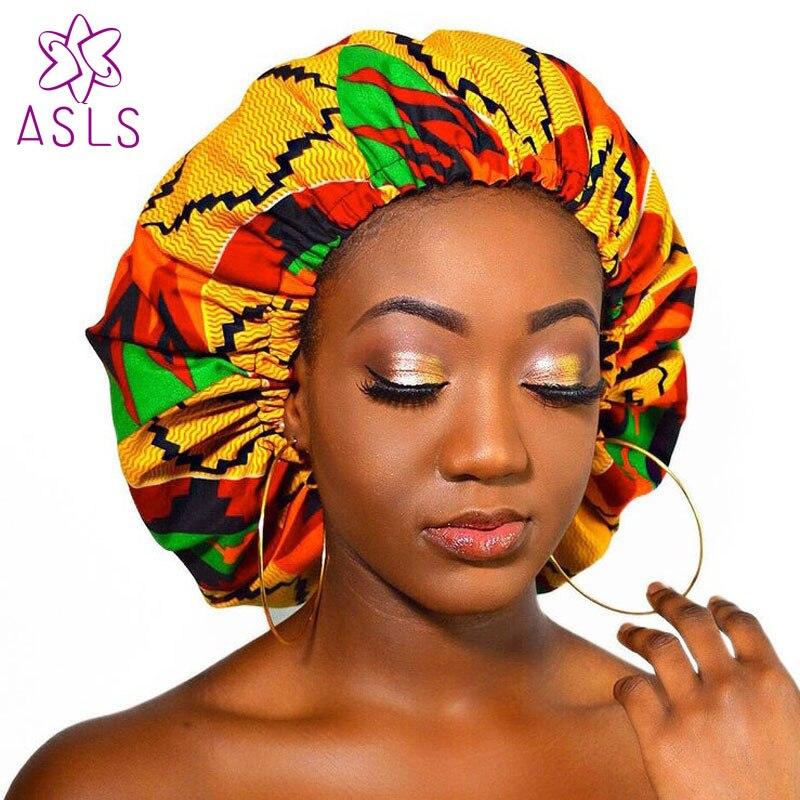 2019 Extra grande satinado forrado Bonnets doble capa mujeres patrón africano impresión tela bonnets noche sueño sombrero accesorios para el cabello