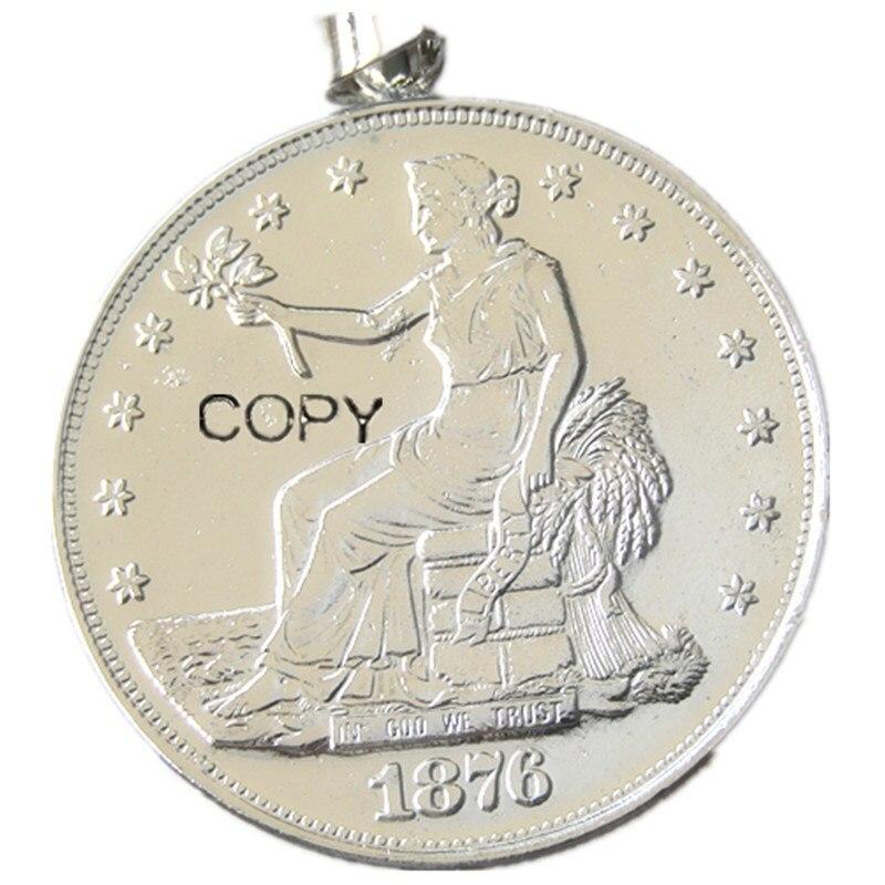 Ps (01) moeda pingente us 1876cc comércio dólar colar banhado a prata moeda moda jóias