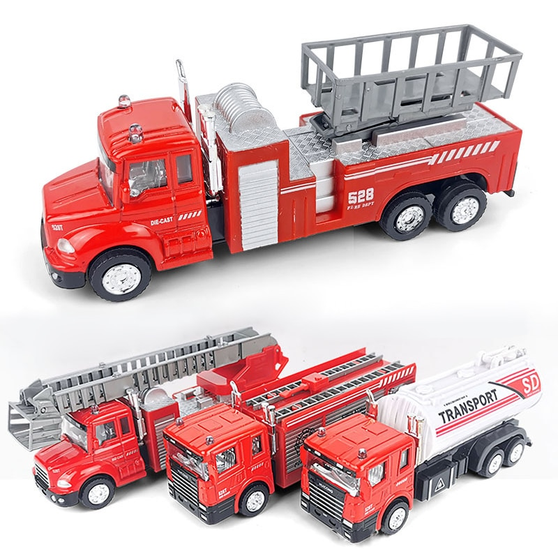 Car Toys Model Car For Boys Vehicle Alloy Fire Truck Engineering Vehicle Children's Simulation Model Toys Kids Birthday Gift недорого