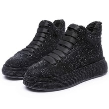 Women Winter Boots Sneakers Shoes 2021 New Rhinestone Shiny Women's Ankle Boots Lace Up Fashion Stud