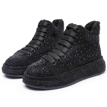 Women Winter Boots Sneakers Shoes 2021 New Rhinestone Shiny Women's Ankle Boots Lace Up Fashion Student Boots Shoe Ladies