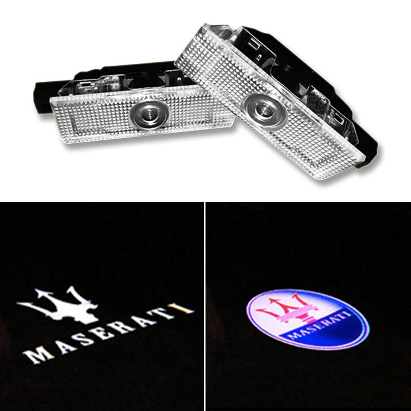 2 pçs para maserati quattroporte 2009-2013 ghibli 2014 ievante carro conduziu a porta logotipo luz fantasma laser sombra projetor lâmpada de advertência