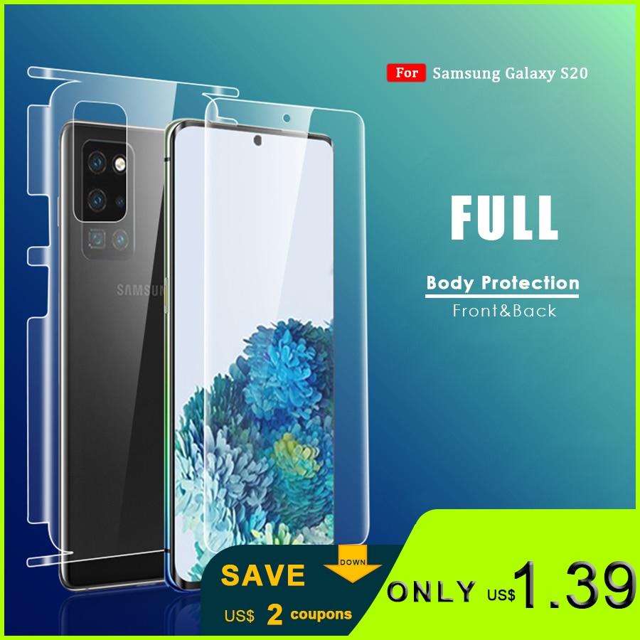 Para Samsung Galaxy S20 Plus Ultra Front + Back Protector de pantalla completo Protector de pantalla Protector de borde completo no cristal