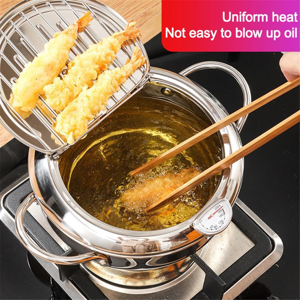 مقلاة عميقة حديثة ، أجهزة منزلية مع ميزان حرارة وغطاء ، مقلاة تيمبورا للمطبخ