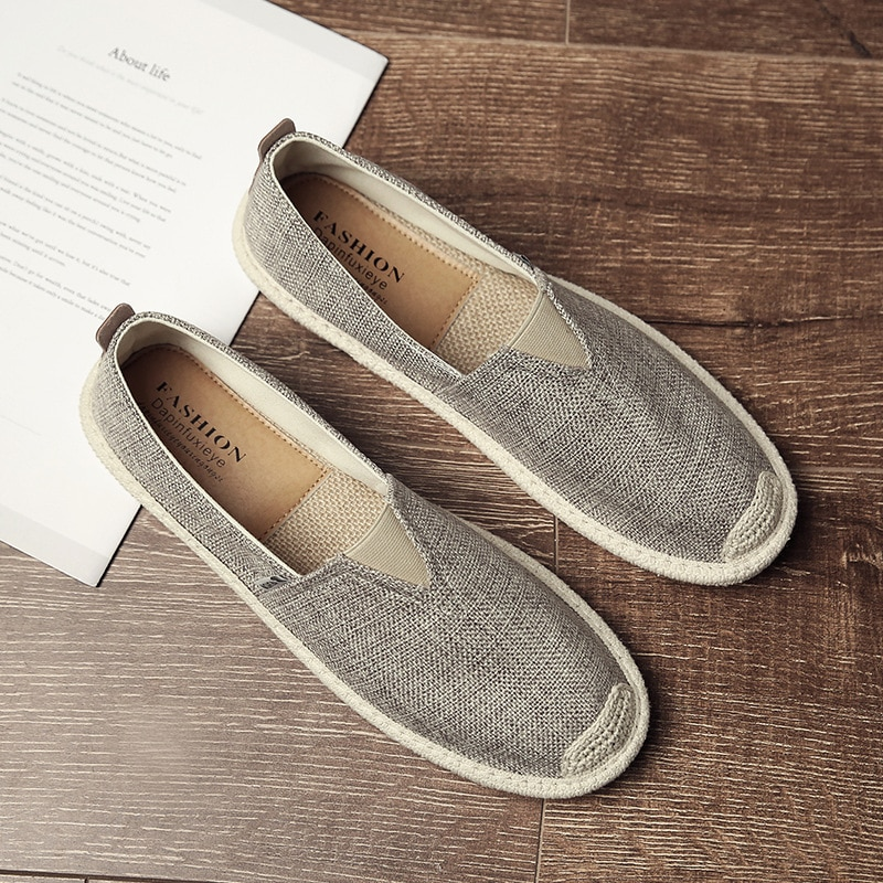 UPUPER Breathable Linen Casual Men's Shoes Old Beijing Cloth Shoes Canvas Summer Leisure Flat Fisher