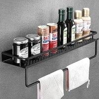 Etagere de salle de bain carree murale en aluminium noir  etagere pour shampoing  cosmetiques  filets de cuisine  etagere de rangement  support organisateur