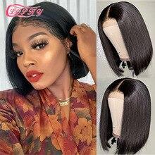 4*4 Lace Closure Short Bob Wig Human Hair Wigs Blunt Cut Bob Human Hair Wig Pre-Plucke Brazilian Str