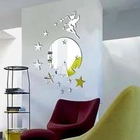 Mode stereo amovible miroir autocollant mural 3D fee etoile miroir autocollant mural decoration de la maison
