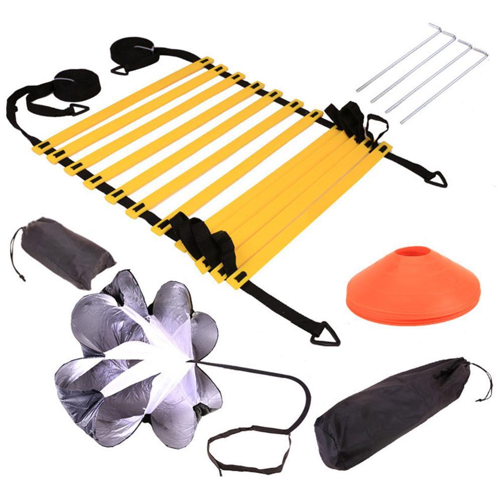 Juego de paraguas con disco de escalera de entrenamiento de velocidad de agilidad de Footwork ajustable conjunto de entrenamiento de agilidad de velocidad de baloncesto de fútbol