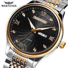 ¡Nuevo diseño de 2019! Reloj de pulsera wakuner para hombre, Reloj de pulsera de cuarzo de cristal, Reloj Masculino de acero Real, dipple diaerkek kol saati
