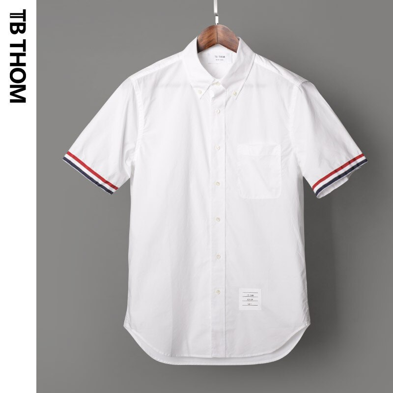 THOM 2020 TB camisetas blancas de manga corta con bolsillo de verano de popelina para hombre