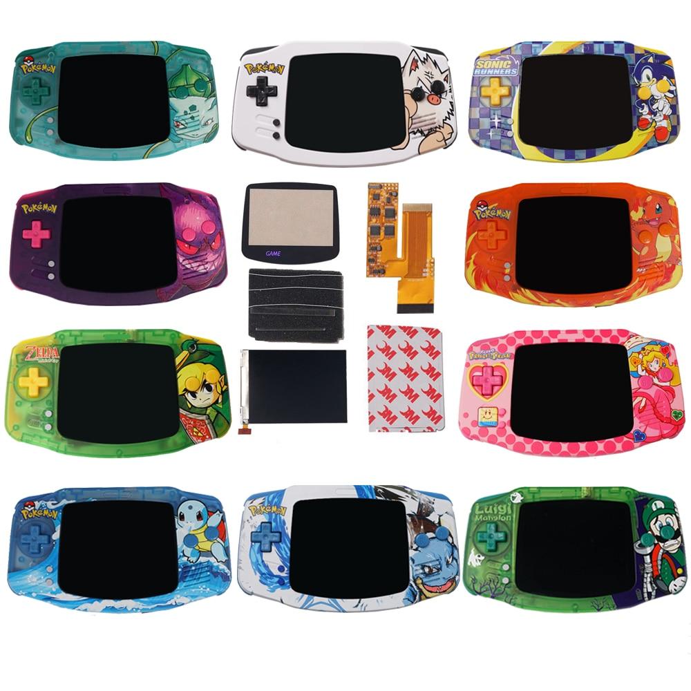 IPS V2 LCD أطقم مع الأشعة فوق البنفسجية مطبوعة قذائف مخصصة ل GBA الخلفية V2 شاشة 10 مستويات سطوع عالية ل Gameboy مسبقا نينتندو