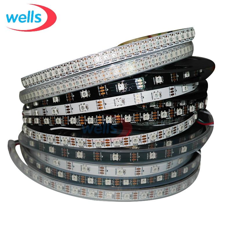 ws2812b ws2812 rgb led strip ws2812 individually addressable ic black white pcb waterproof grade ip30 ip65 ip67 dc5v DC5V WS2812B 1m/4m/5m 30/60/74/96/144 pixels/leds/m Smart led pixel strip,Black/White PCB,WS2812 IC;WS2812B/M,IP30/IP65/IP67