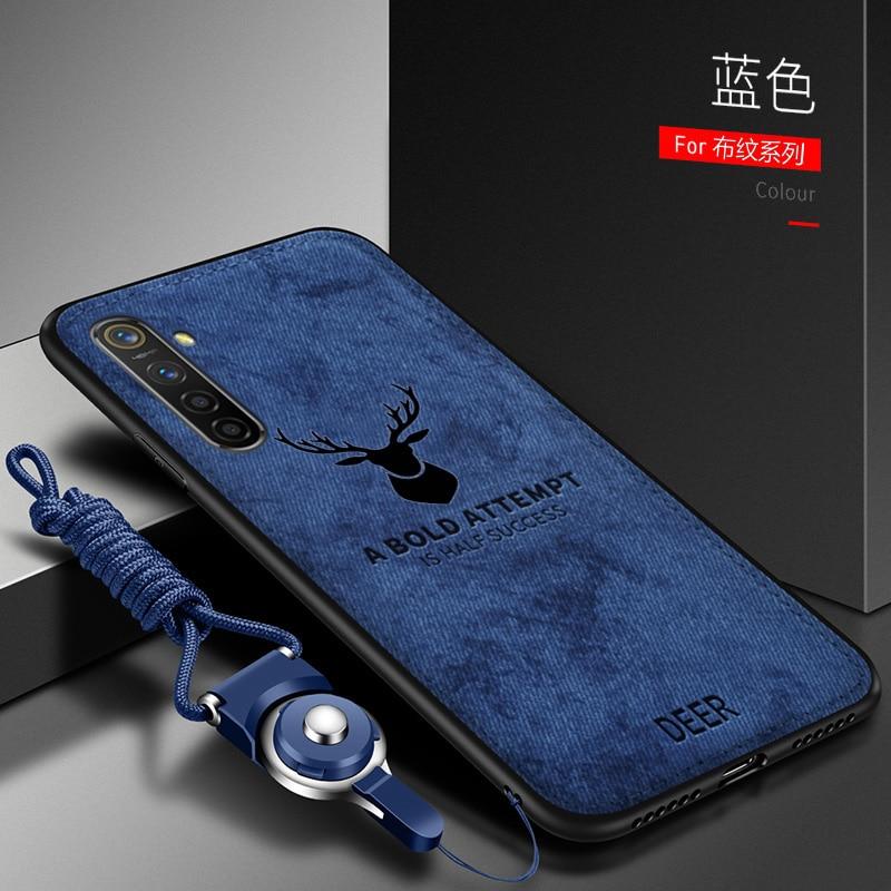 Dla OPPO Realme 6 Pro Case luksusowe miękkiego silikonu + twarde tkaniny Deer cienka ochronna tylna pokrywa Case dla oppo realme 6 6pro shell