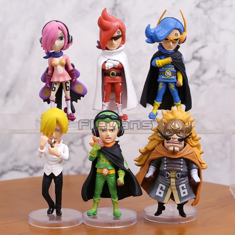 Uma peça wcf vinsmoke reiju/juiz/ichljl/sanji/yonjin/niji pvc figuras modelo brinquedos com caixa 6 pçs/set