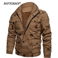 men winter fleece jackets bomber coat hooded warm mens clothing windbreaker outwear casual thick male solid cotton jacket lm235