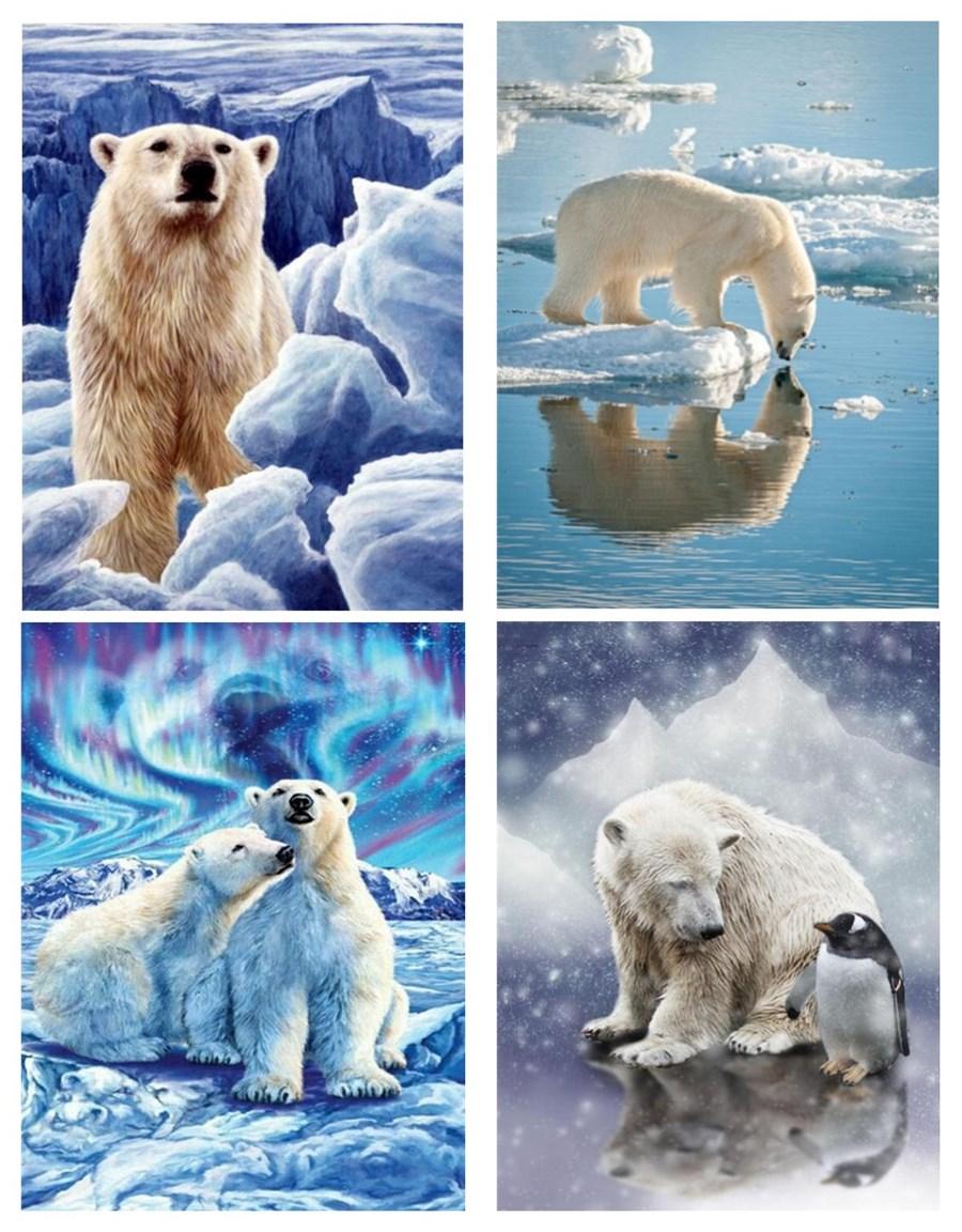 5D DIY Diamond Painting Polar Bear New Diamond Art Embroidery Home Decoration Gift Home Drop Sailing