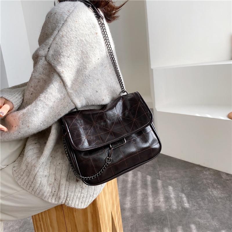 2021 New Rhombus Black Rock Soft Single Shoulder Oblique Span Chain Bag Luxury Handbags for Woman PU Leather Messenger Bag