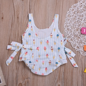 Cross-Border Special for Cute Girls Swimsuit Ice Cream Printing Baby Children One-Piece Bow Swimsuit Summer New Style