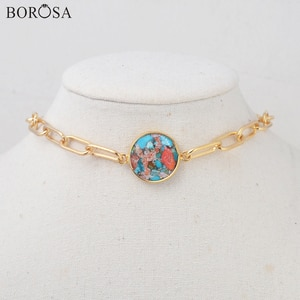 BOROSA Gold Round Natural Coral Turquoises Necklace Natural Gems Stone Beads Connector for Bracelets Jewelry Making G2008
