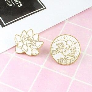 Glamourous Golden Lotus Wave Round Badge Brooch Seaside Wave Star Moon Ocean Plant Enamel Pin Hat Coat Lapel Brooch Neutral
