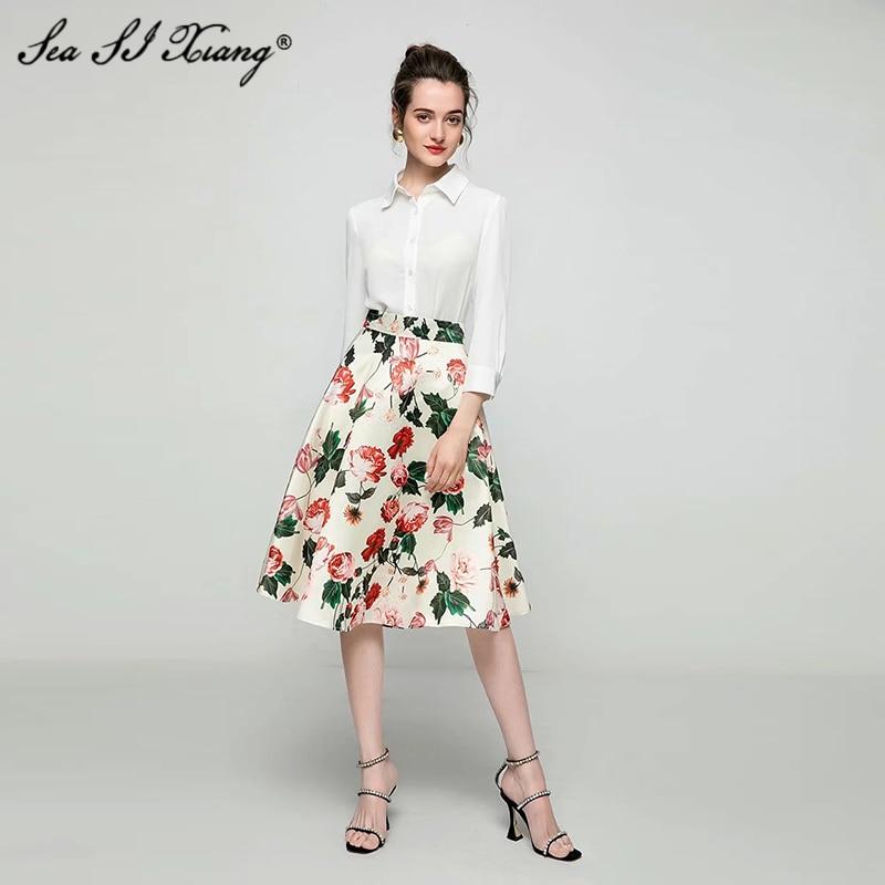 Seasixiang-تنورة مطبوعة بالزهور للنساء ، عالية الخصر ، عطلة ، مصمم ، صيف ، جديد ، 2021