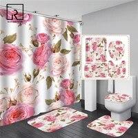 Ensemble de rideaux de douche imprimes roses  motif floral  elegant  impermeable  pour femmes  pour salle de bain  piedestal  couvercle de toilette