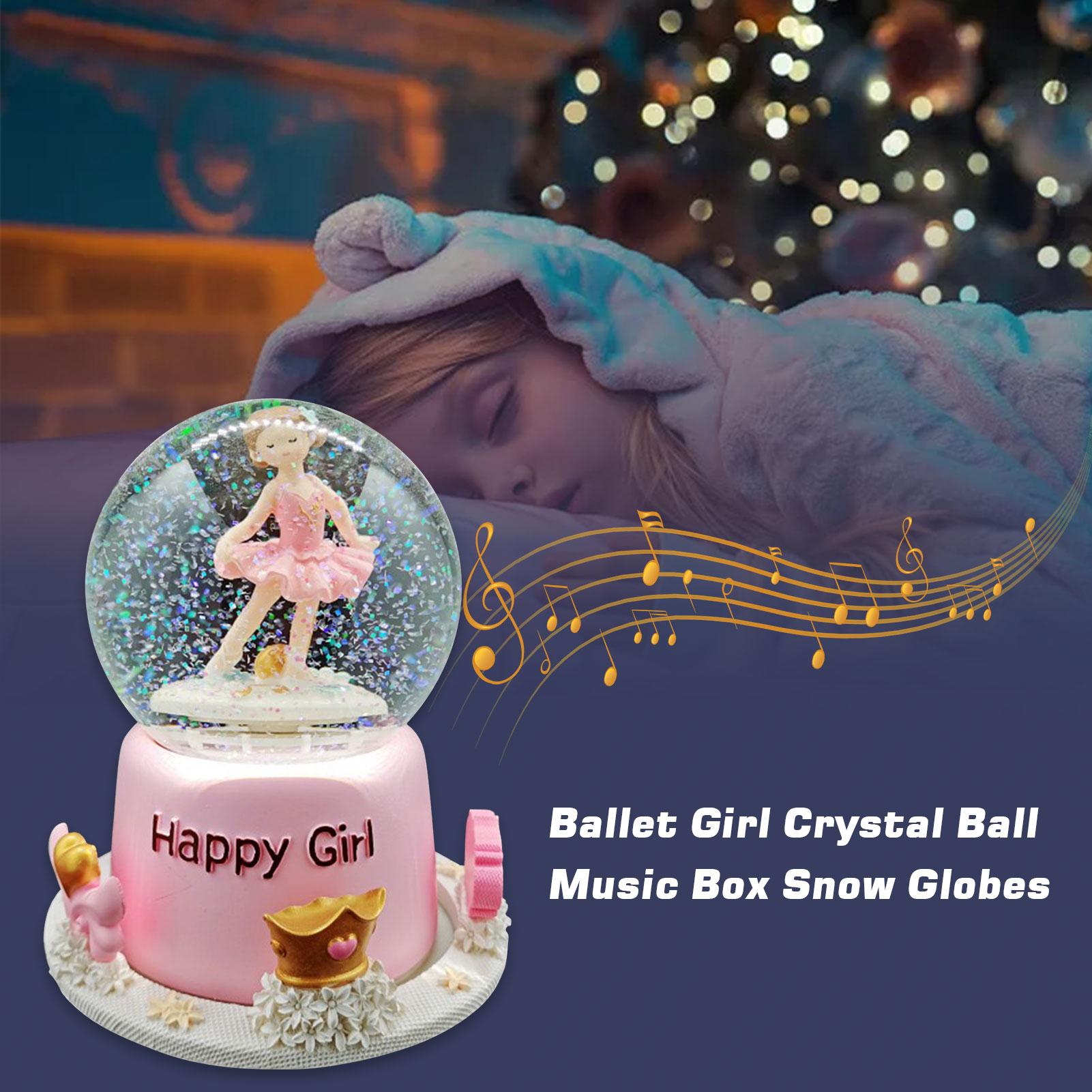 Caixa de Música Globo de Neve Bola de Cristal Presente de Aniversário para a Família Girar Rosa Bailarina Amigos Crianças 14*17cm