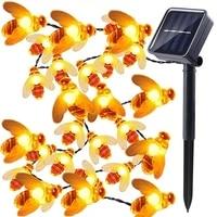waterproof outdoor cute honey bee led fairy string lights solar bee light christmas garland lights for garden fence patio