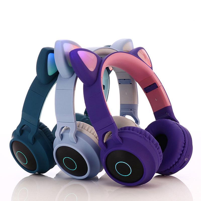 Eastvita fone de ouvido estéreo bluetooth bonito gato fones piscando brilhante jogos fone de ouvido fone de luz led para pc
