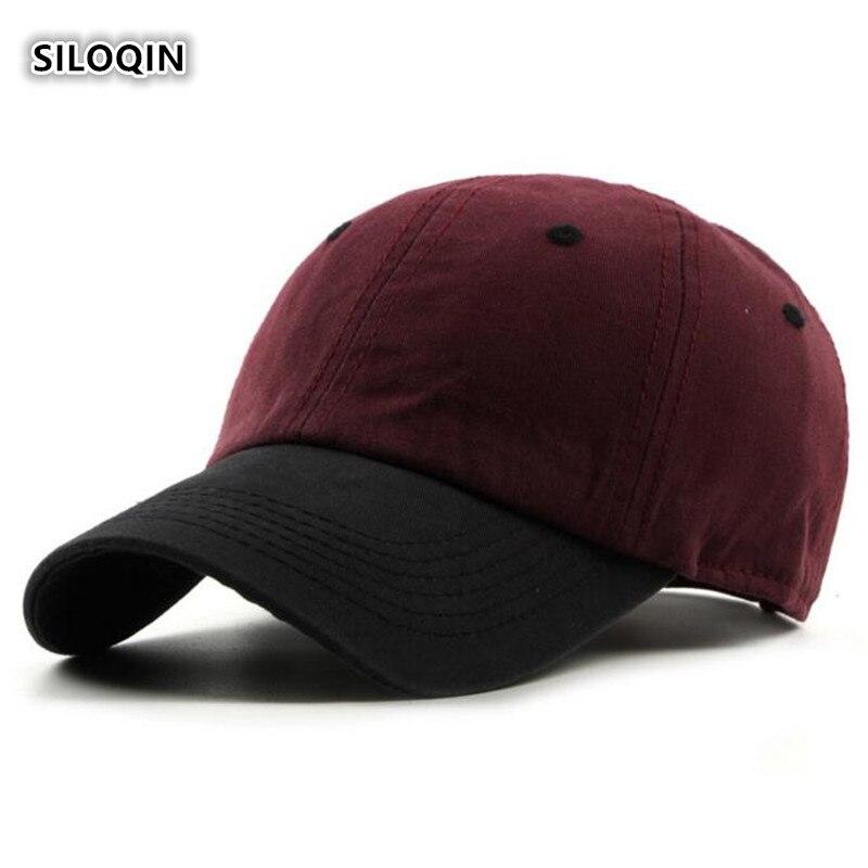 Модные мужские хлопковые бейсболки SILOQIN, регулируемый размер, Женская Спортивная Кепка, разноцветные трендовые шапки для пар