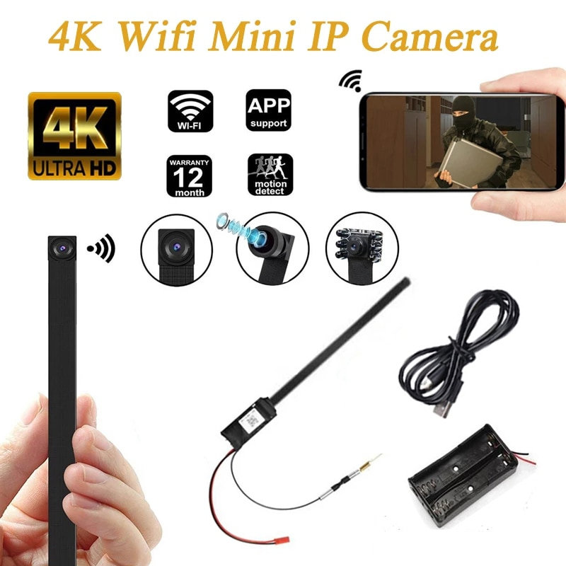4K DIY Portable Full HD WiFi IP Mini Camera P2P Wireless Mini Camcorder Video Audio Recorder Support Remote View TF Card Battery