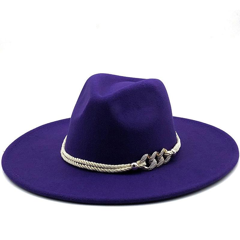 Big Black/white Wide Brim Simple Church Derby Top Hat Panama Solid Felt Fedoras Hat for Men Women artificial wool Blend Jazz Cap