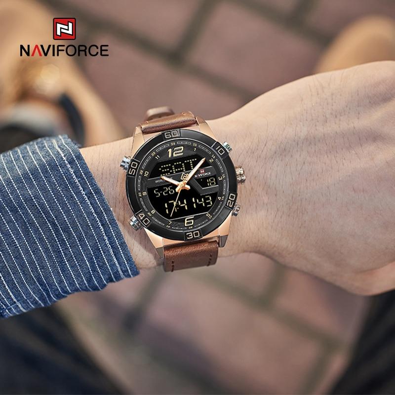 NAVIFORCE Luxury Gold Watches For Men Leather Band Waterproof Digital Alarm Sport WristWatch Man Military Dual Time Quartz Clock