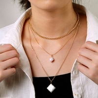 IPARAM Vintage Pearl Chain Multilayer Necklace Female Geometric Irregular Pearl Pendant Necklace Fashion Bohemian Jewelry