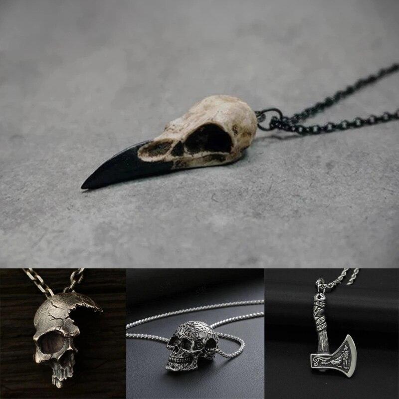 Фирменная Новинка 3D череп ворона Мужская ожерелье с кулоном череп сорока готика Хэллоуин Подарок Птица Череп Ожерелье Панк Хип-хоп ювелирные изделия