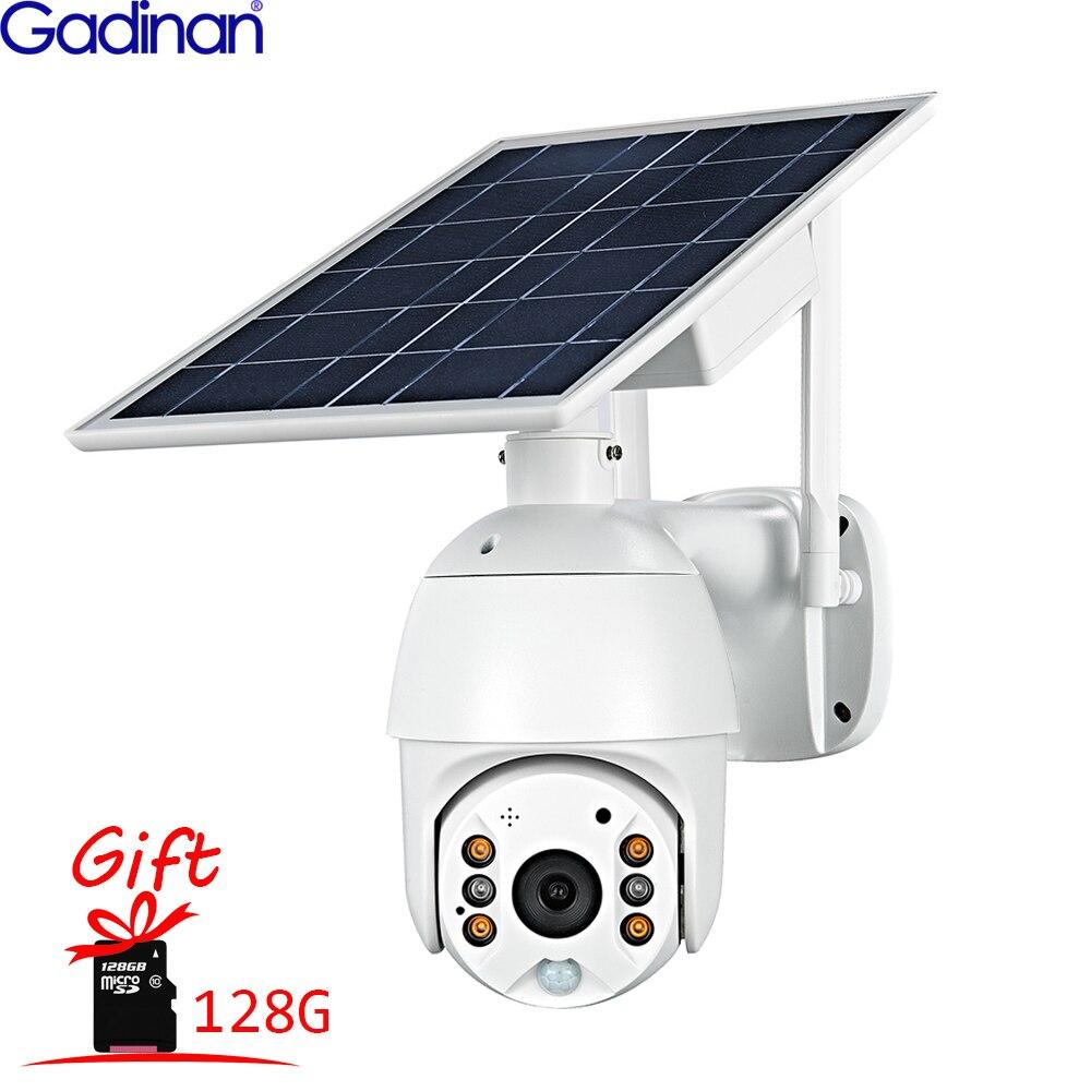 Gadinan Solar Panel Camera Wifi 4G PTZ 1080P 128Gb Outdoor Security Wireless Monitor 4X Waterproof CCTV Smart Home Surveillance