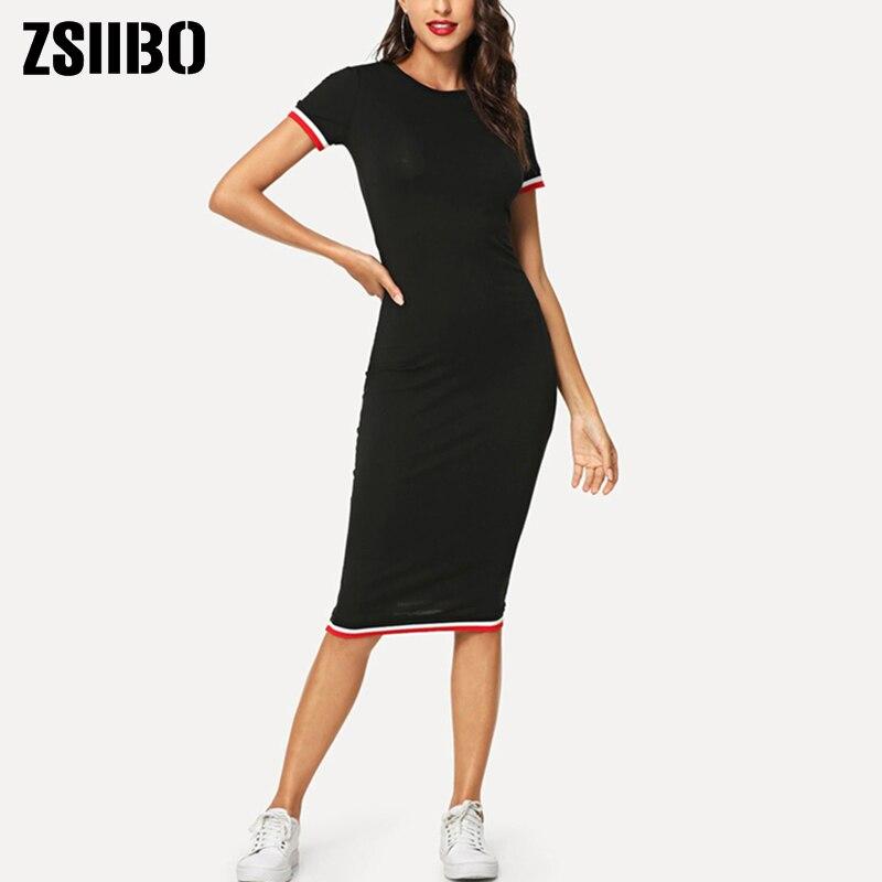 2019 nuevo Primavera Verano Bodycon vestido largo rayado recortado Tee vestido Streetwear cuello redondo mujeres ropa Casual ZSIIBO