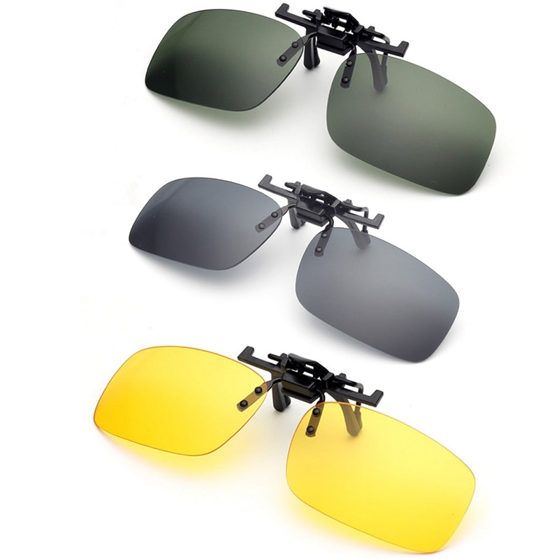 Large Glasses Car Night Driving Women Clip On Sunglasses Night Vision Glasses Anti-glare UVA Driver