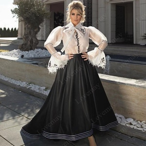Black and White Caftan Muslim Evening Dresses Long Sleeves Lace Appliques Prom Dresses Formal Party Gowns Vestidos De Fiesta
