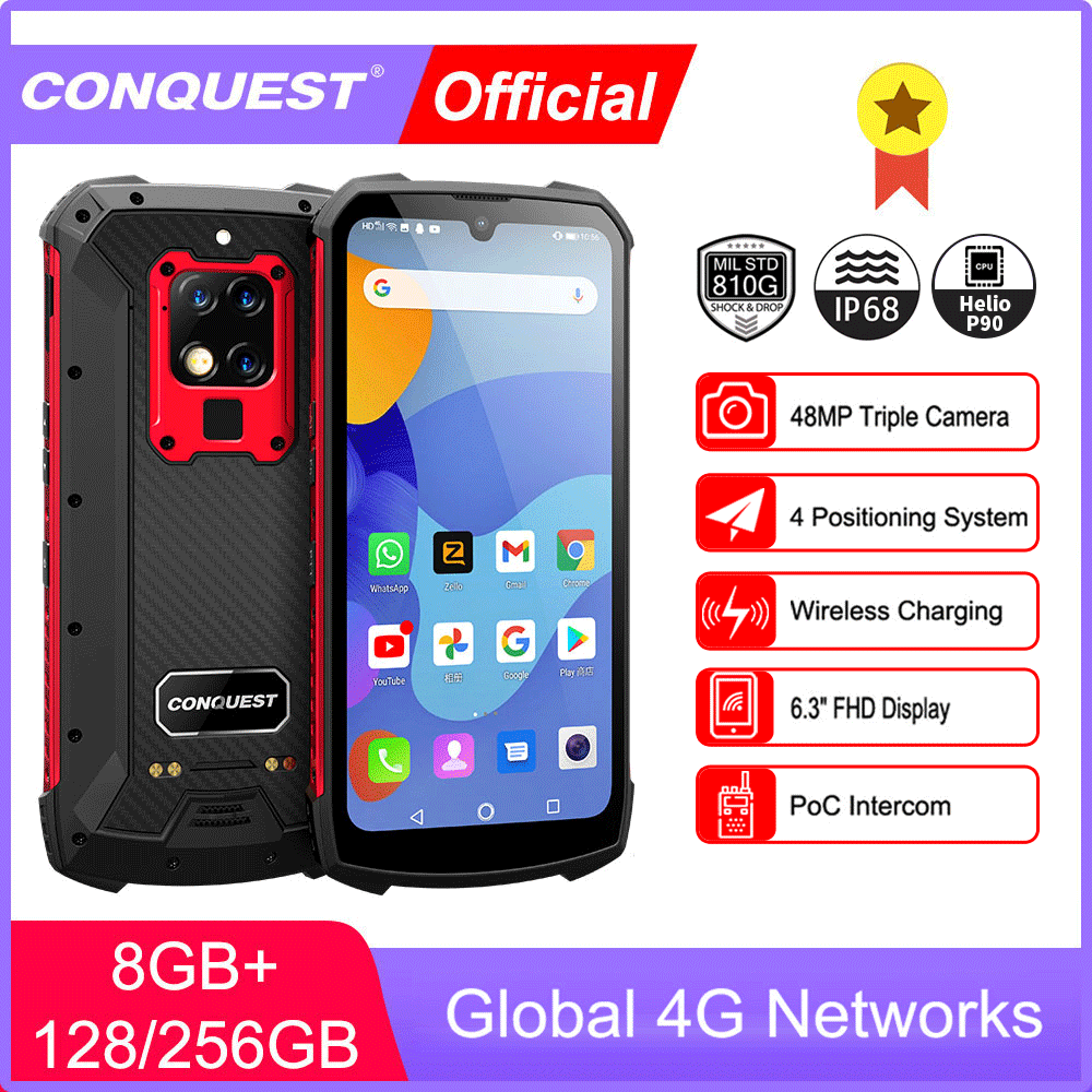 CONQUEST S16 IP68 Shockproof Waterproof Rugged Smartphone Android Push Button  Mobile Phones Cell Smart Phone Mobile Phones