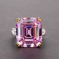 knriquen real 925 sterling silver 10x14mm emerald pink quartz citrine cocktail rings gemstone engagement for women luxury gifts