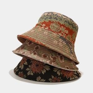 New Classical Flower Men's Bucket Hat Fisherman Hat Plum Blossom Elegant Sun Protection Cap Chrysanthemum Women's Summer Panama
