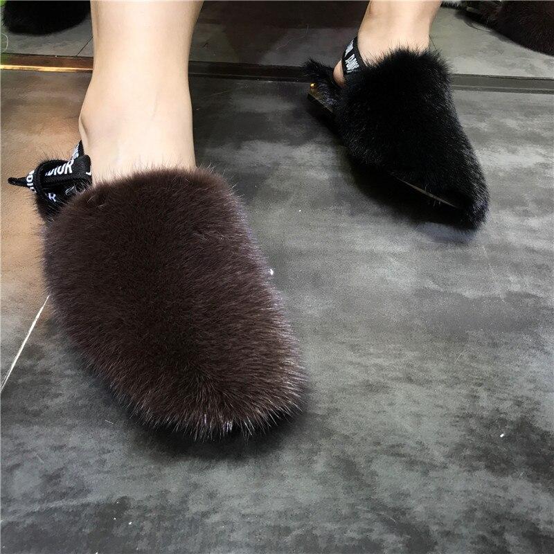 Women's Fur Slippers 100% Mink Slippers Women's Fur Flat Slippers