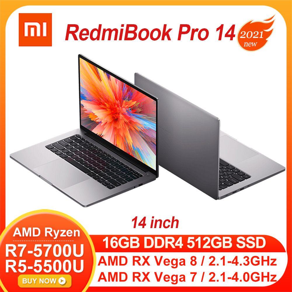 "Review Xiaomi RedmiBook Pro 14 Laptop AMD Ryzen R7-5700U/R5-5500U AMD RX Vega 8/7 14"" Notebook 16G DDR4 RAM 512GB PCIe SSD Windows10"