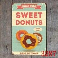 Affiche retro Vintage en metal  signe en etain  Donuts  meilleur en ville  decor de Bar  Pub  maison
